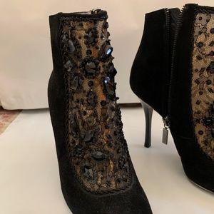 Black Suede embellished bootie